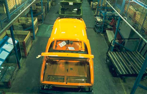 Saab 99s on the assembly line