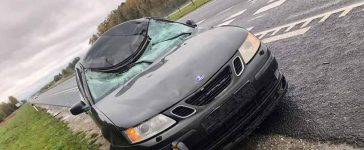 Saab after hit the moose