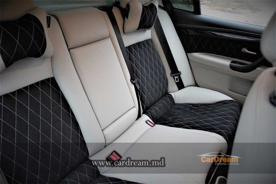 embroidered alcantara and leather