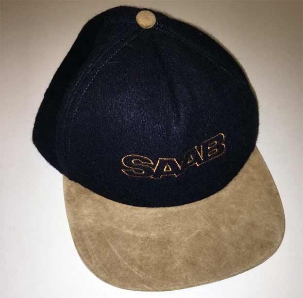 Vintage SAAB Navy Blue and Tan Beige Wool and Suede Baseball Hat Cap