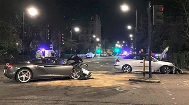 McLaren supercar worth £250,000 almost destroyed in head-on crash with Saab 9-3 Convertible