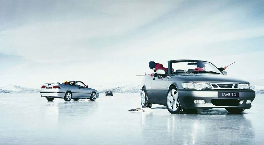 Great advertising idea - fishing on a frozen lake from the comfort of a Saab convertible cabin