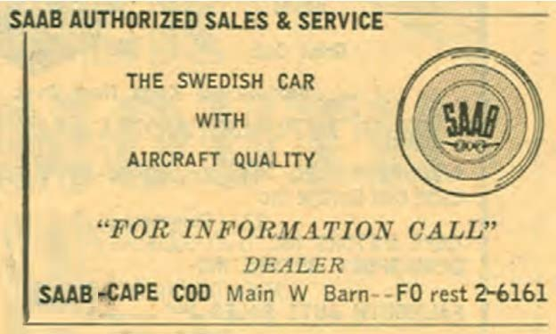 An ad from the 1957 New England Telephone directory, courtesy of SaabHistory.com.