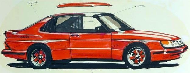 Final sketch - a very good combination of Saab, BMW, Porsche and Ferrari