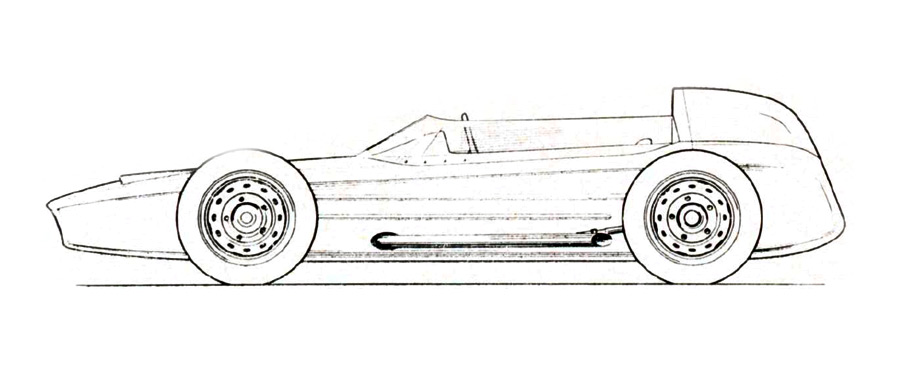 Drawing board profile of SAAB's pr oje cted Formula Junior 850« automobile.