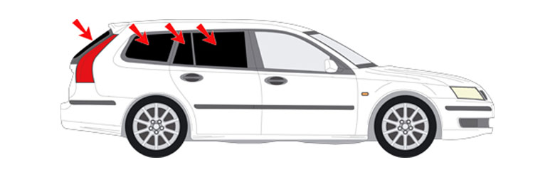 Easy to fit sun protection for Saab cars