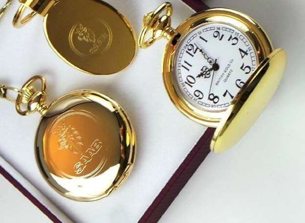 Saab Pure Gold Clad Saab Pocket Watch And Clad Keyring Drivers Set In Luxury Case
