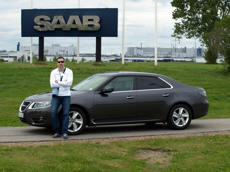 With Saab 9-5 in Trollhättan