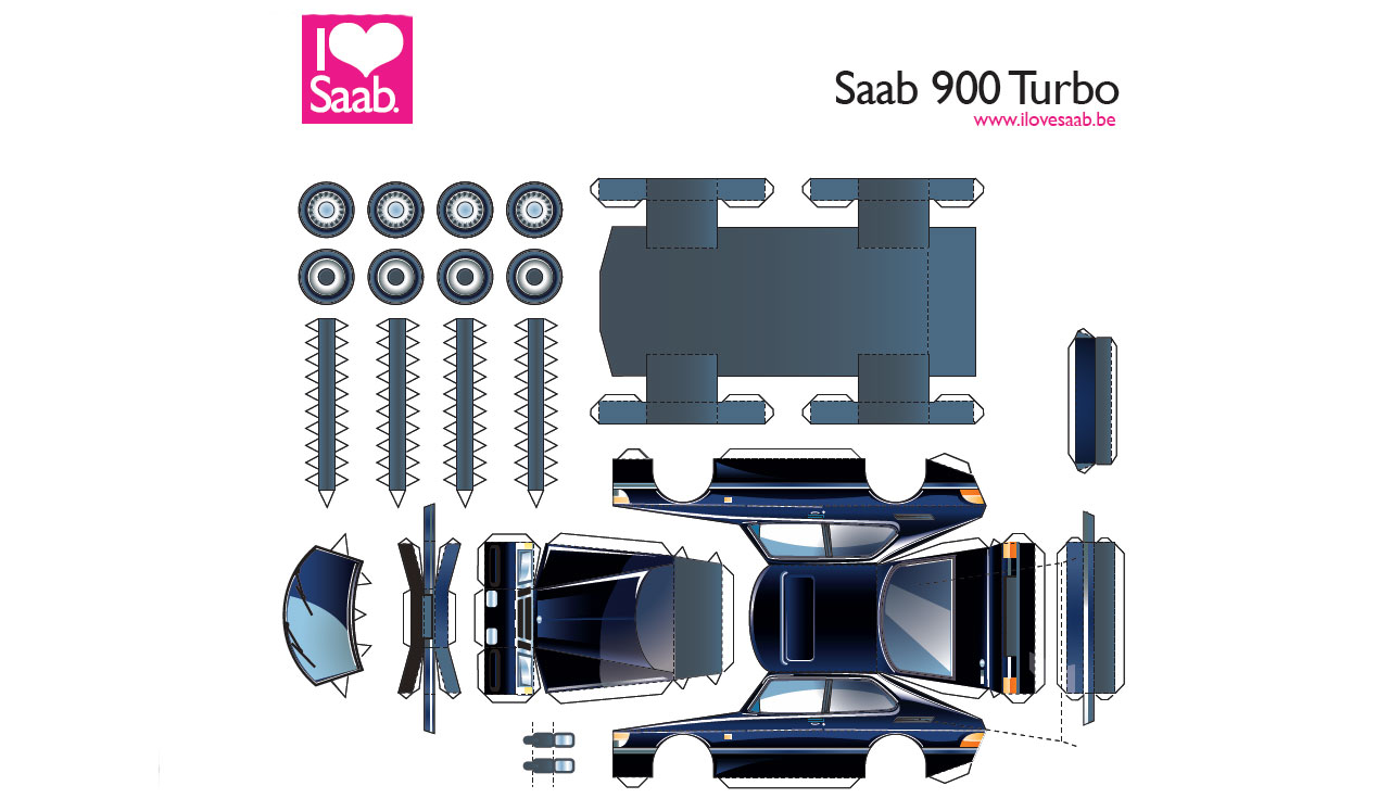 How to make a Saab 900 Turbo 3D Paper car?