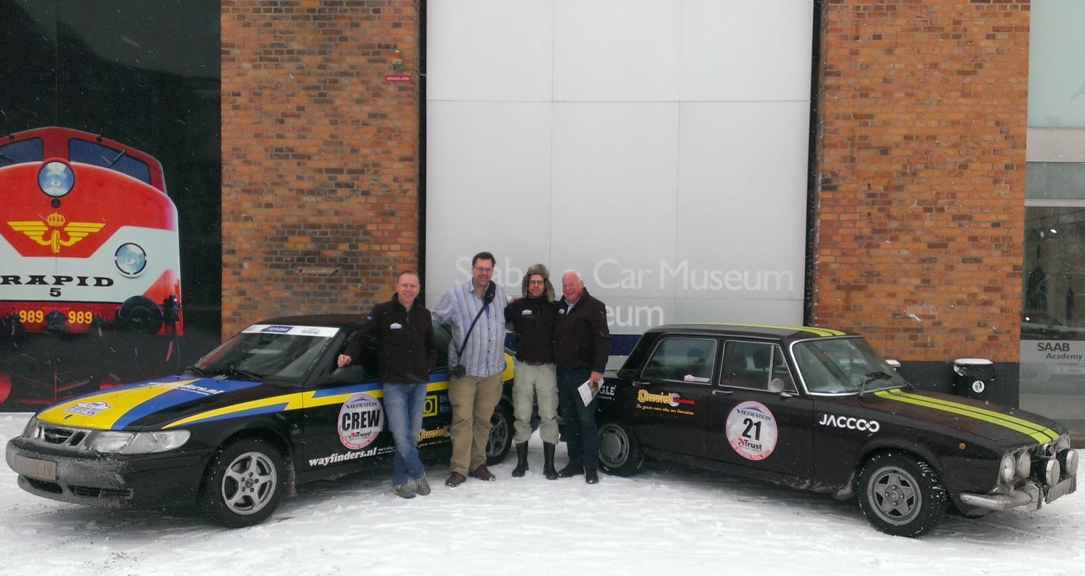 """Klassiek & techniek"" Rally team at Saab Museum"