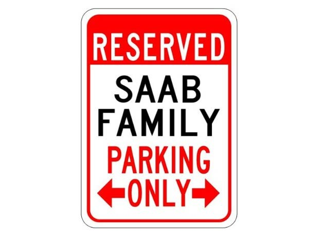 Saab parking only Sign