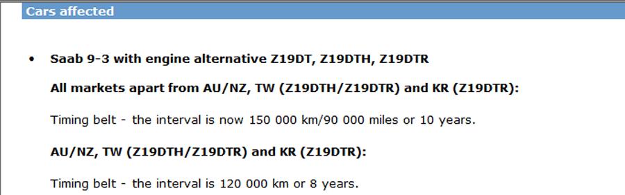 Saab timing belt interval