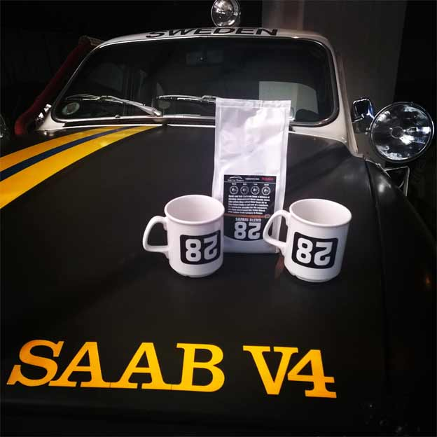 New Safari Coffee Mugs in the Saab Car Museum Shop