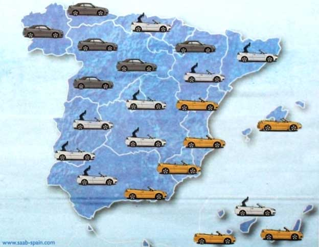 Saab weather map Spain