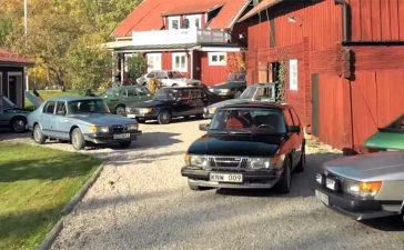 yard full of Saabs