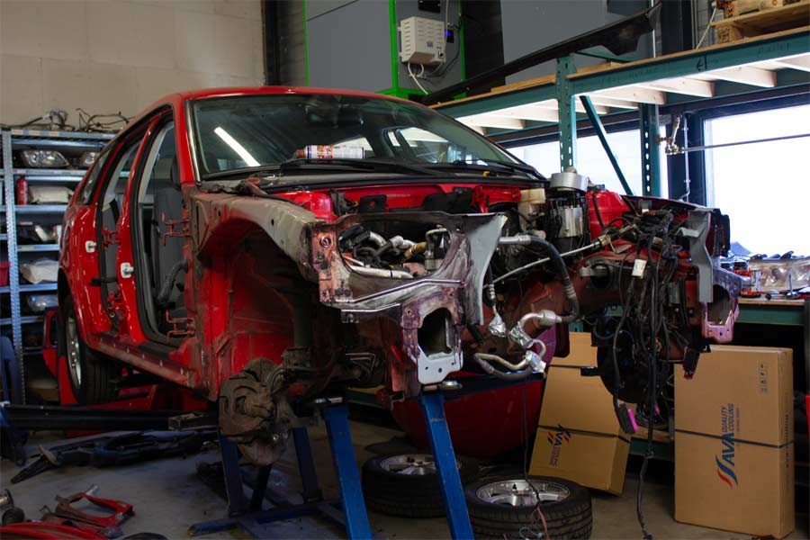 """Saab 9-3x in the process of renovation is stripped """"to the skin"""""""