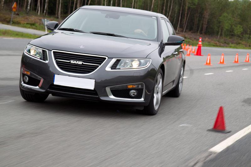 New Saab 9-5 on Hällered Test Track