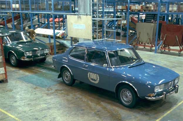 Saab 99 rolled off the assembly line.