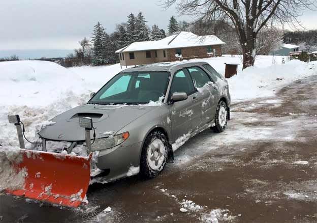 Saabaru 9-2x with snow plow
