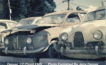 Saabs in Denver flood 1965