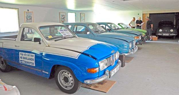 Seven Saabs in small museum