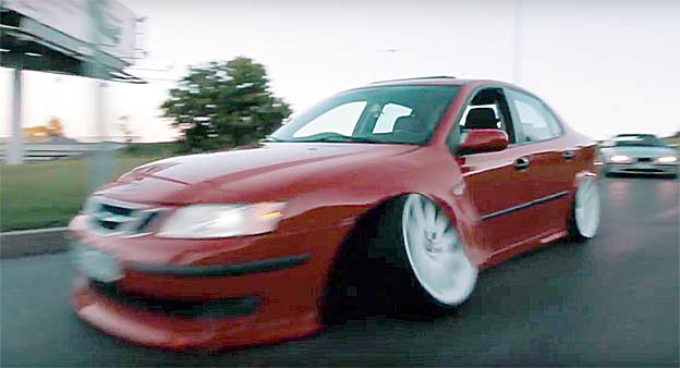 Stanced Saab 9-3 fail