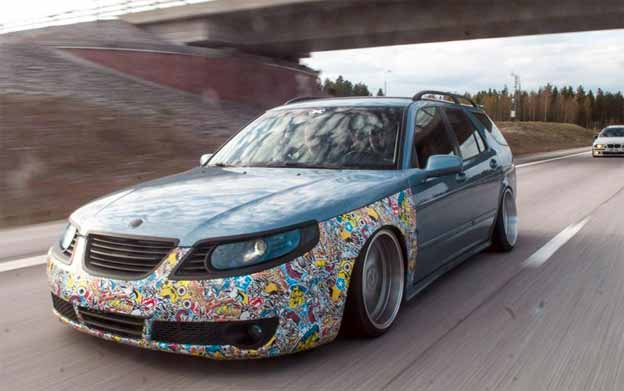 stanced saab 9 5 sportcombi. Black Bedroom Furniture Sets. Home Design Ideas