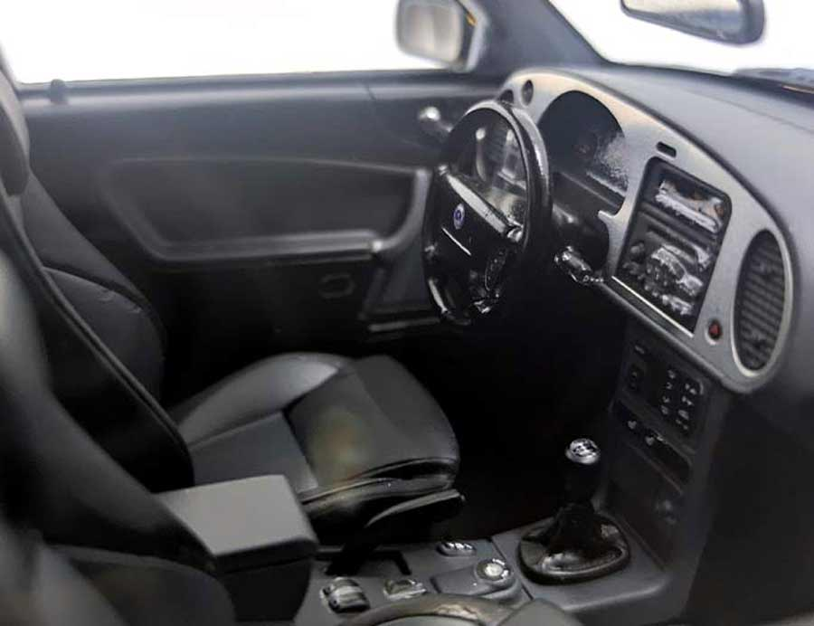 Viggen interior details - the very convincing and realistic silver dashboard